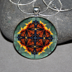 Butterfly Pendant Necklace Boho Chic Mandala New Age Sacred Geometry Kaleidoscope Masquerade