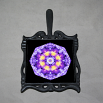 Pansy Trivet Cast Iron Boho Chic Mandala New Age Sacred Geometry Hippie Kaleidoscope Purple Prose
