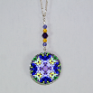 Iris Charm Necklace Silver Mandala Sacred Geometry Kaleidoscope Eternal Elation
