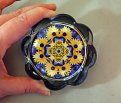Daisy and Pansy Flower Glass Paperweight Sacred Geometry Mandala Kaleidoscope Unique Boss Gift Coworker Gift Teacher Gift Sunny Splendor