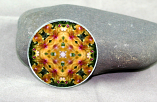 Orchid Glass Magnet Mandala Kaleidoscope Floral Geometric Whimsical Grace