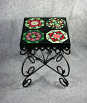 Exquisite Wrought Iron Accent Table Side Table Coffee Table Patio Table with Ceramic Tile Top
