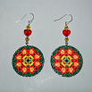 Dahlia Earrings Dangle Boho Chic Mandala New Age Sacred Geometry Hippie Kaleidoscope Dignified Elegance