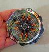 Oriole Octagon Glass Paperweight Sacred Geometry Mandala Kaleidoscope Bird Lover Unique Boss Gift Coworker Gift Teacher Gift Ornament of Orange
