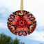 Oak Leaf and Pebble Glass Suncatcher Mandala Sacred Geometry Pebble Paradise