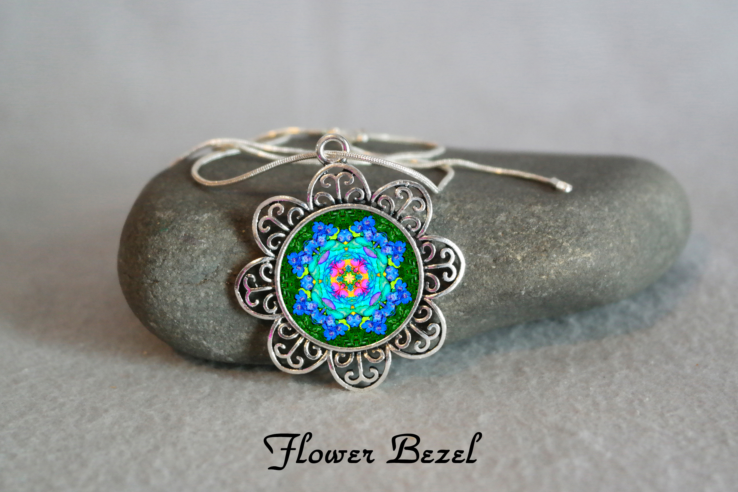 Flower Bezel pendants