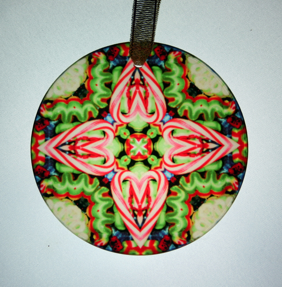 candy cane glass suncatcher christmas ornament kaleidoscope mandala hard candy christmas - Candy Christmas Ornaments