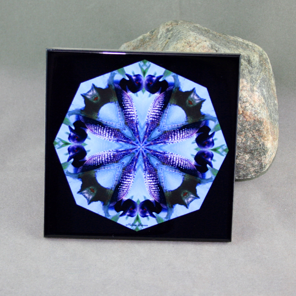 Loon Decorative Ceramic Tile Coaster Kaleidoscope Trivet