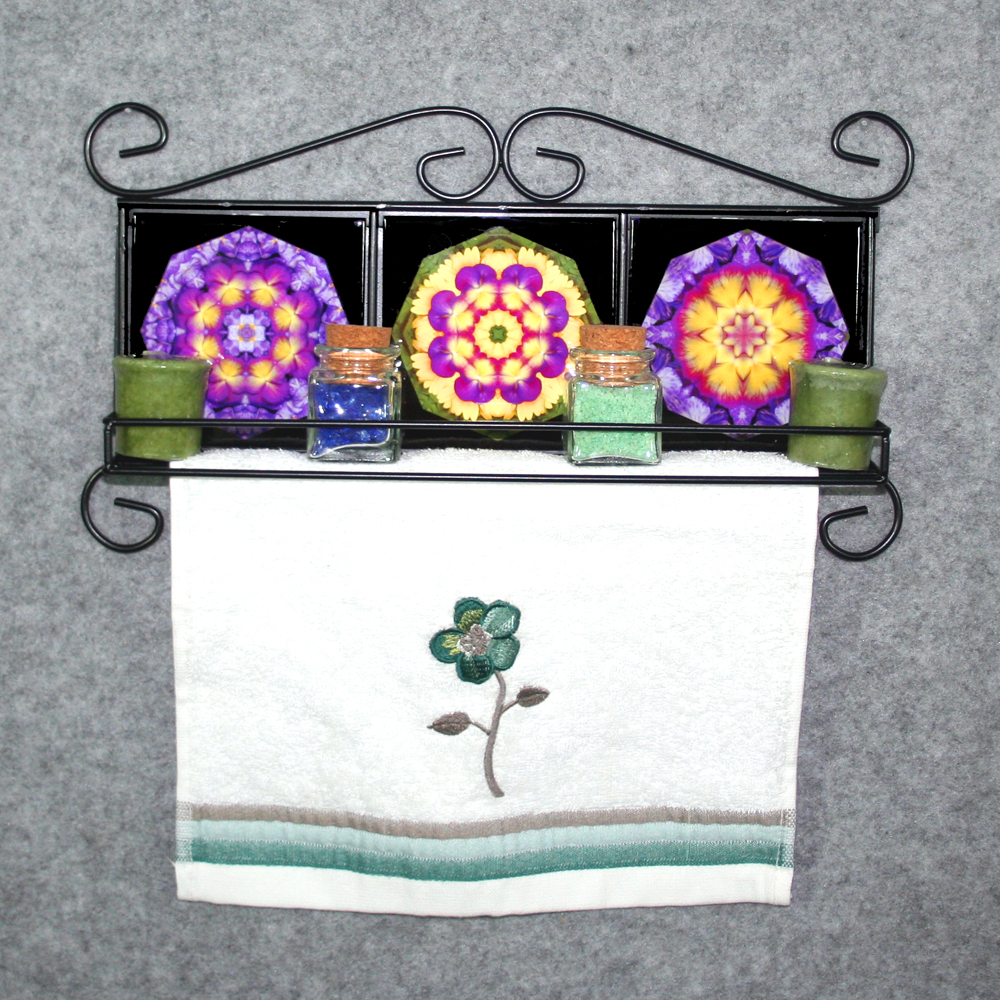 Towel rack with shelf and pansythemed ceramic tile inserts boho towel rack with shelf and pansythemed ceramic tile inserts boho chic new age pansy flowers dailygadgetfo Gallery