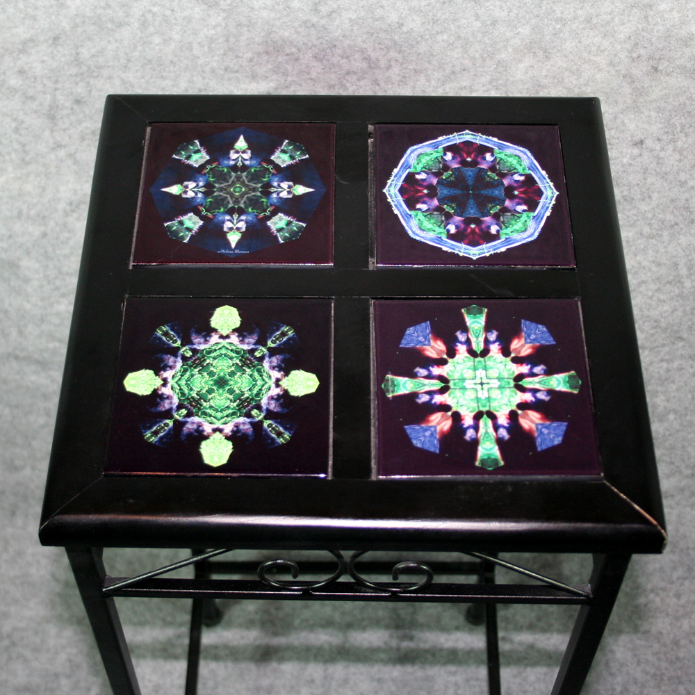 Black iron accent table side table with ceramic tile top sacred side table end table dailygadgetfo Gallery