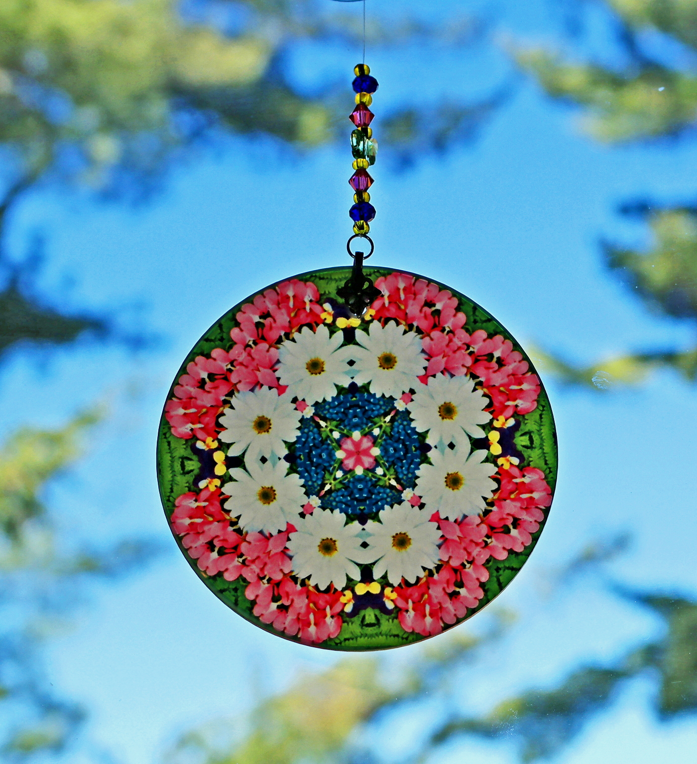 Daisy Bleeding Heart Chakra Glass Suncatcher Mandala Boho Chic New Age Sacred Geometry Hippie Kaleidoscope Meditation Zen Unique Gift For Her Love Transcends