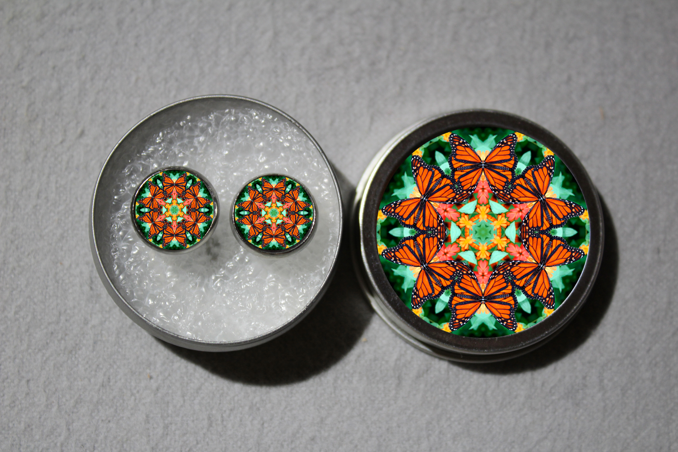 Post Earrings Monarch Butterfly Mandala Chakra Boho Sacred Geometry Zen Kaleidoscopic A Myriad Of Maitri