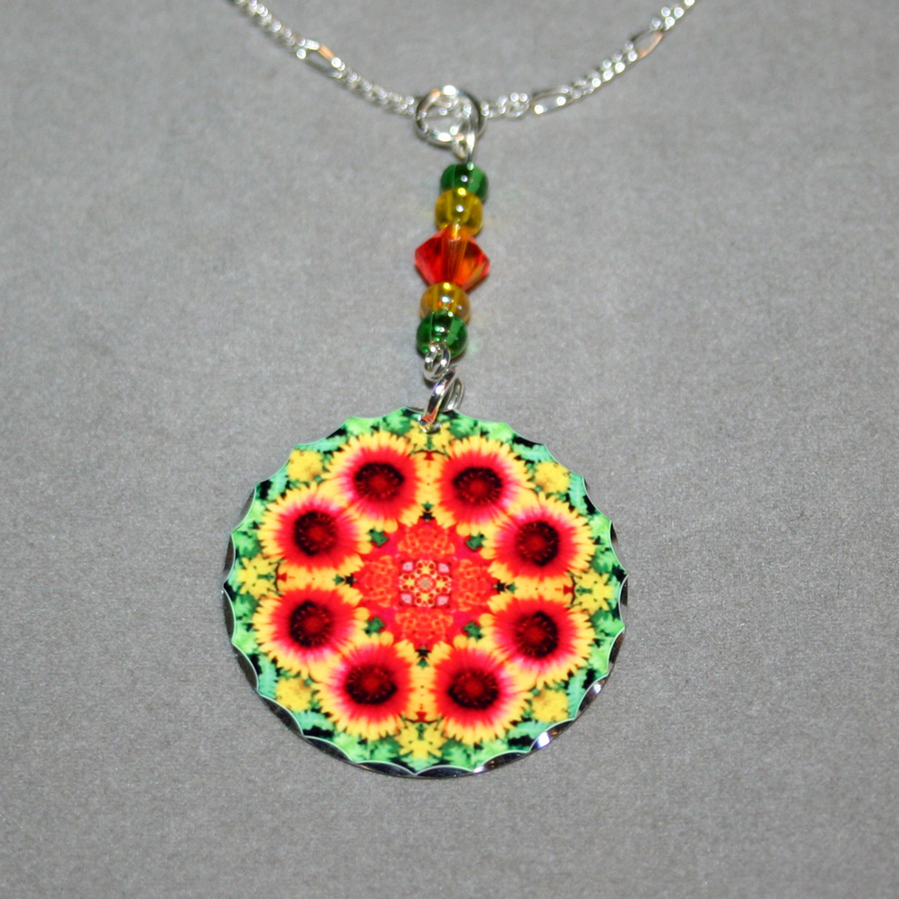 Blanket Flower Charm Necklace Silver Mandala Sacred Geometry Kaleidoscope A Ray of Hope