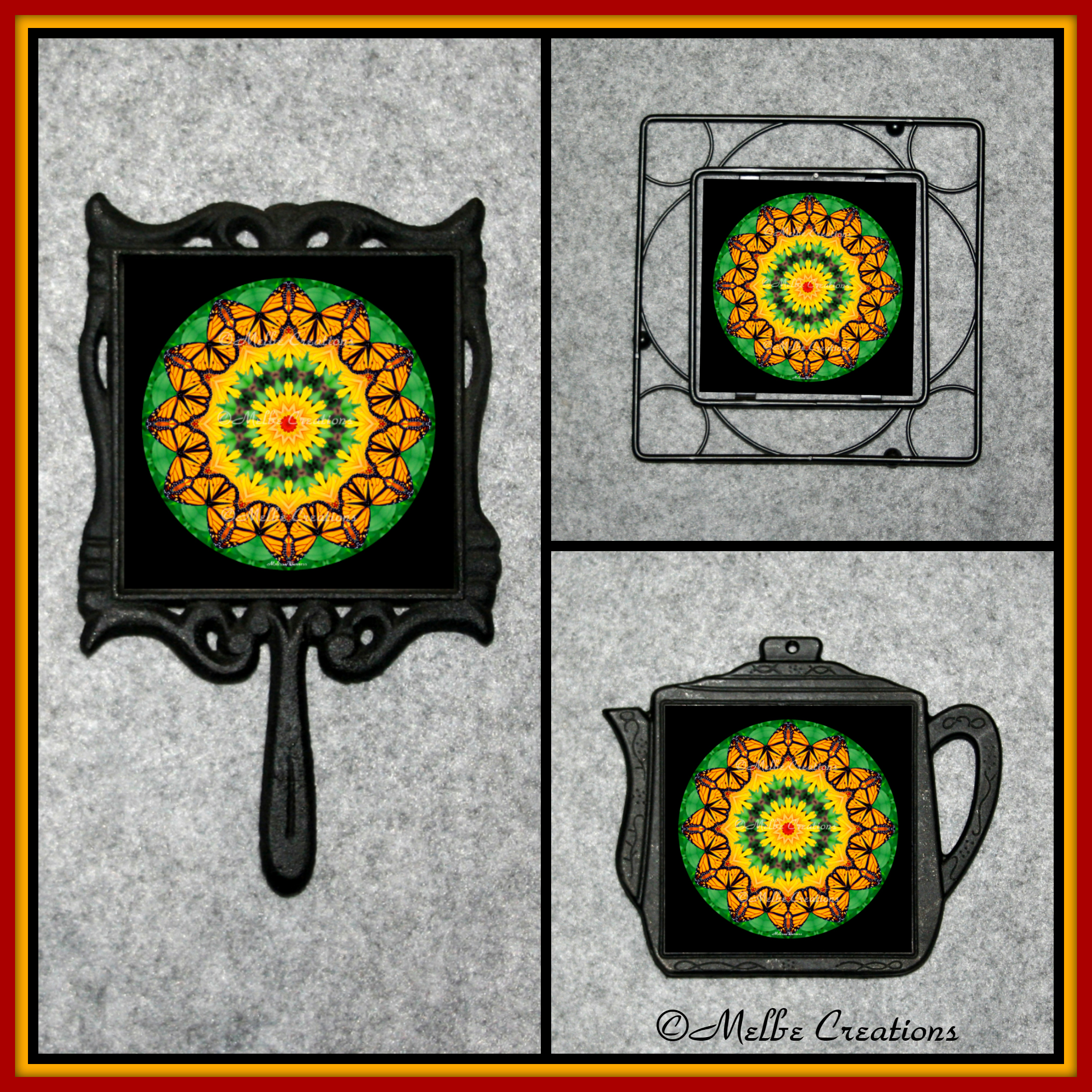 Cast Iron Metal Teapot Kitchen Trivet Monarch Butterfly Chef Foodie Housewarming Wedding Gift WOH