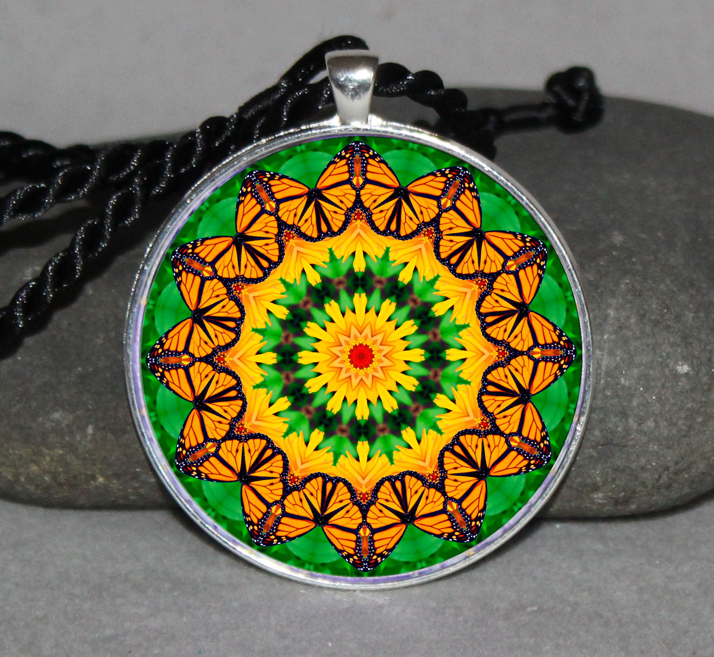 Monarch Butterfly Necklace Pendant Charm Gift Sacred Geometry Geometric Mandala Necklace a