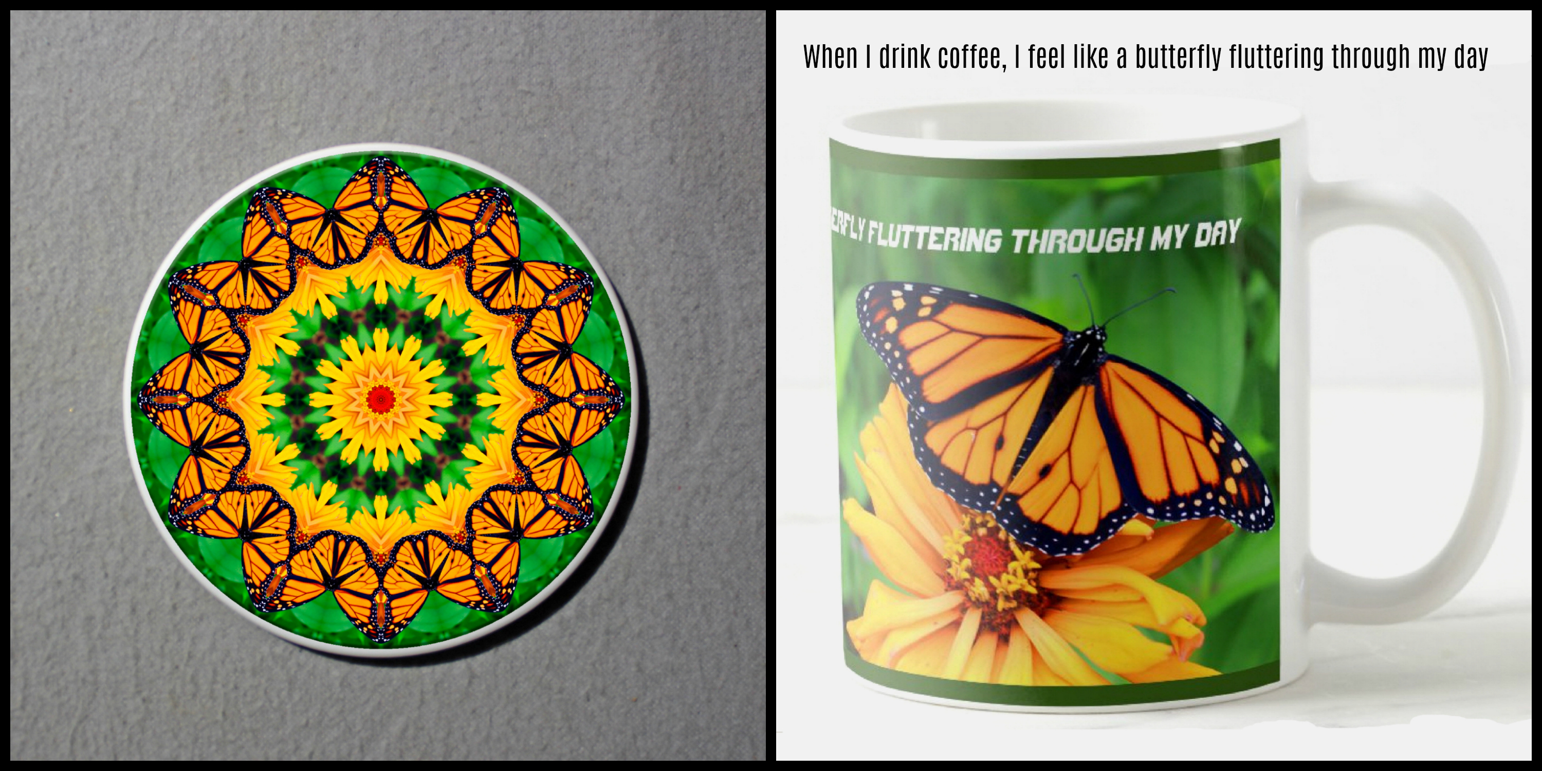 Mug Coffee Tea Hot Chocolate Unique Cute Monarch Butterfly With Coaster Gift Set A Whisper Of Hope