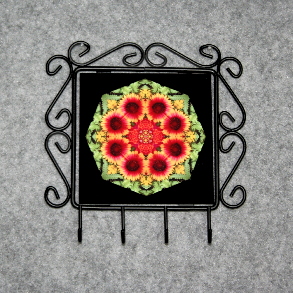 Blanket Flower Organizer Rack Jewelry Rack Key Rack Utensil Rack Boho Chic New Age Sacred Geometry Kaleidoscope A Ray Of Hope