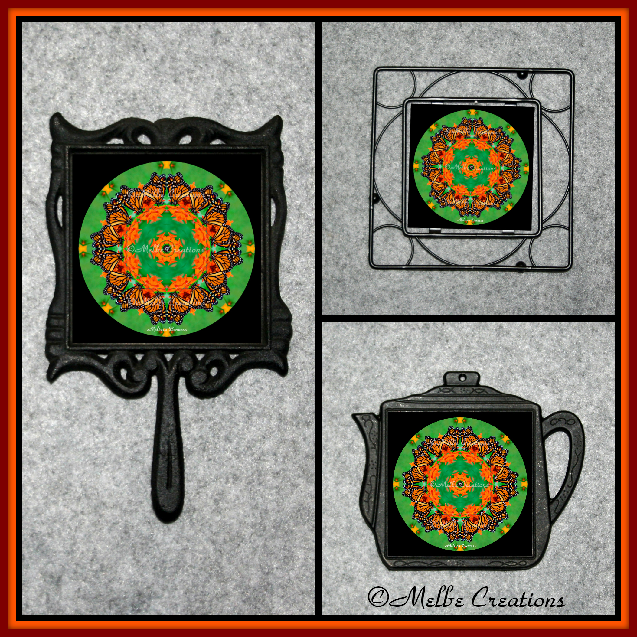 Cast Iron Metal Teapot Kitchen Trivet Monarch Butterfly Chef Foodie Housewarming Wedding Gift AA1