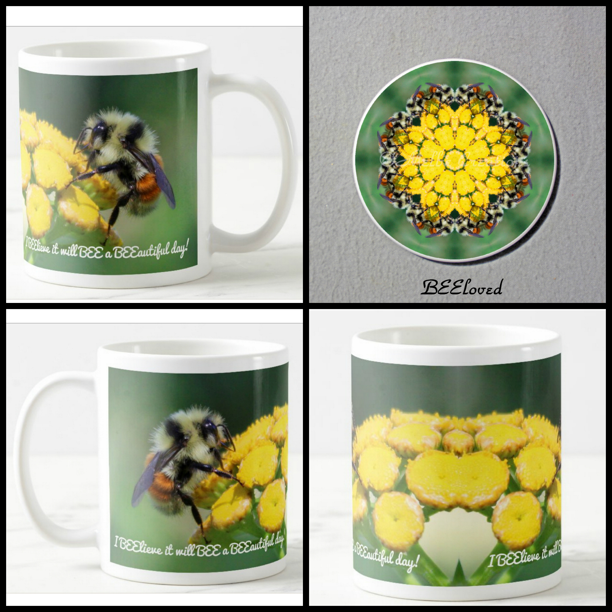 Mug Coffee Tea Hot Chocolate Unique Cute Bumble Bee Honey Bee With Coaster Gift Set BEEloved