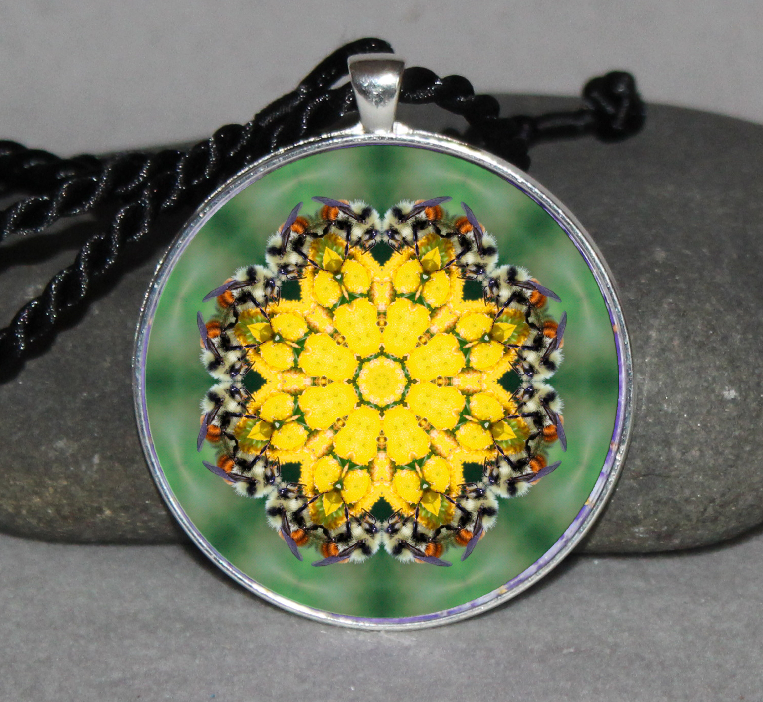 Honey Bee Mandala Boho Geometric Necklace Pendant Jewelry Unique Jewelry Bumble Bee Gift b