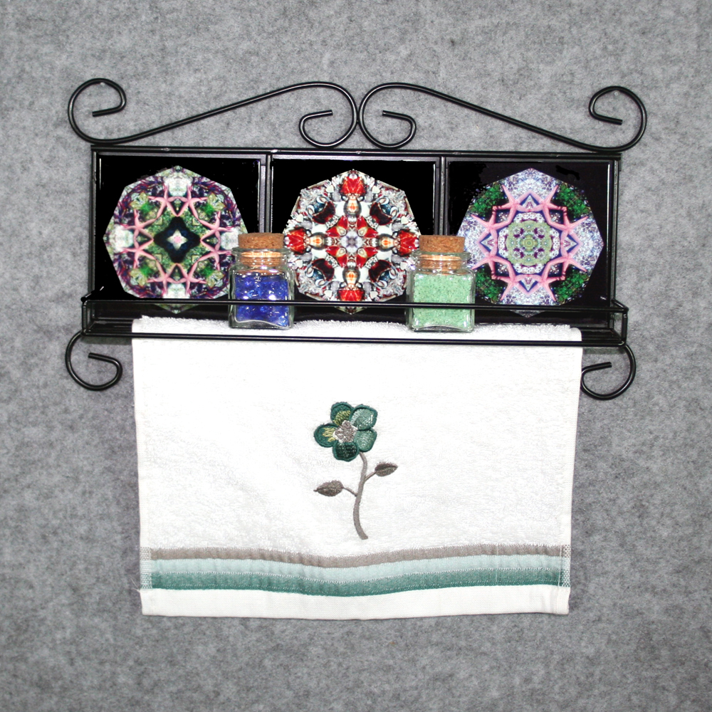 Towel Rack With Shelf and Nautical Themed Ceramic Tile Inserts Boho Chic New Age Beach Style