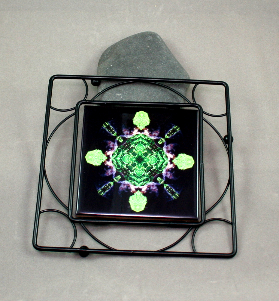 Bear Black Iron Ceramic Tile Trivet Sacred Geometry Mandala Kaleidoscope Bear Essentials