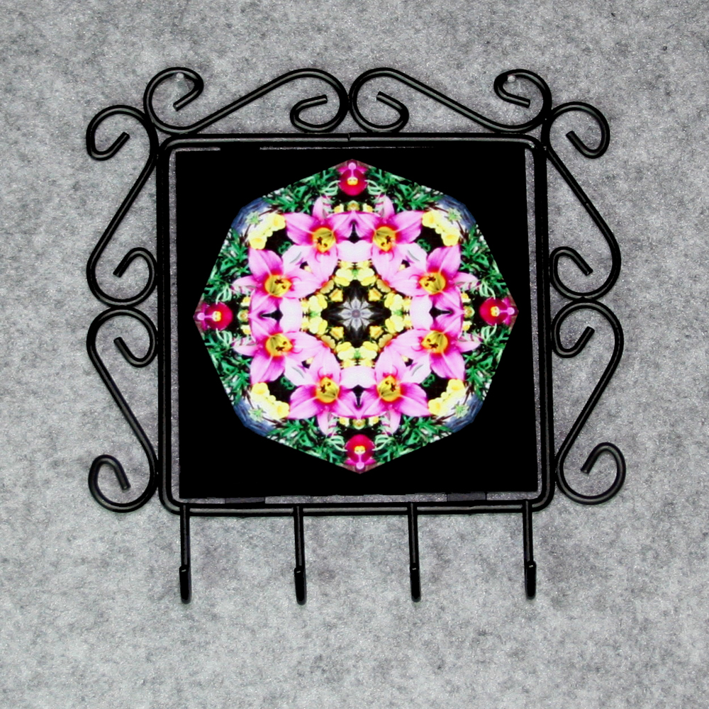 Lily Organizer Rack Jewelry Rack Key Rack Utensil Rack Boho Chic New Age Sacred Geometry Kaleidoscope Bella