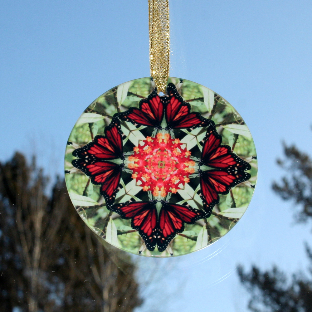 Monarch Glass Suncatcher Home Decor Ornament Window Decor Mandala Meditation Zen Unique Gift For Her Yoga Gift