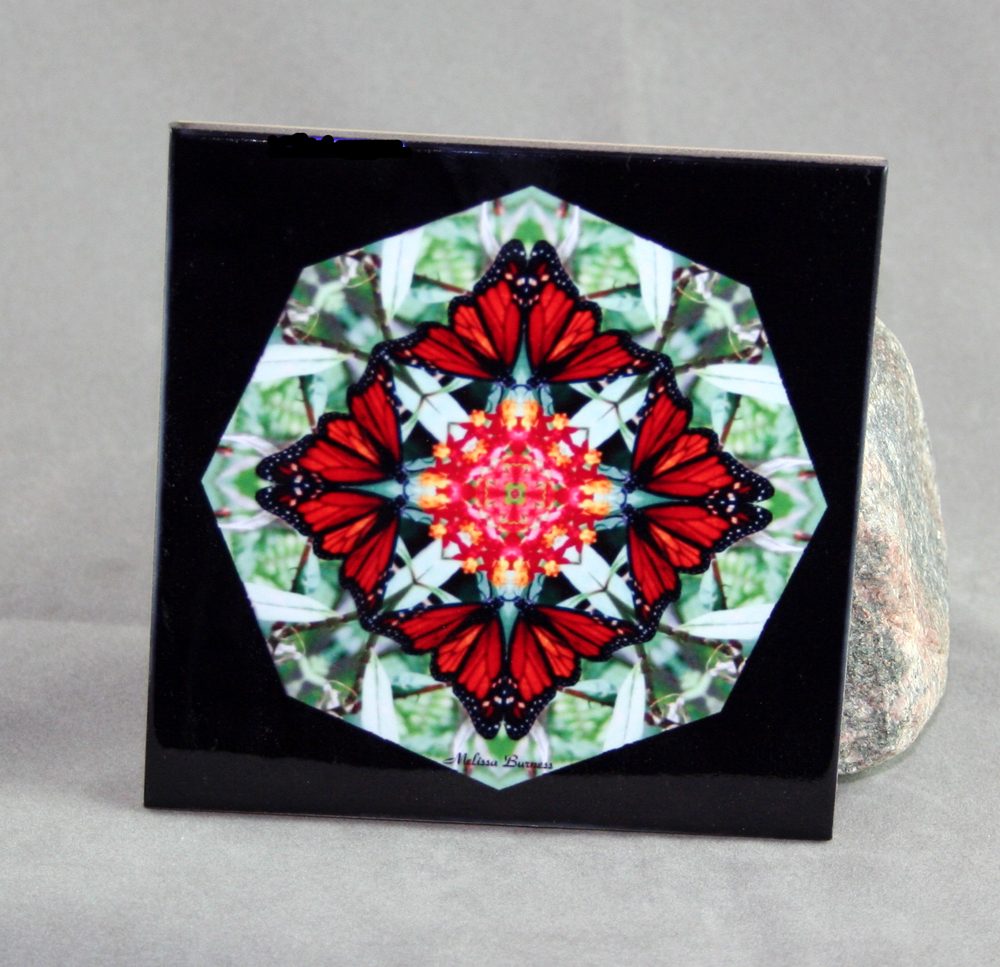 Monarch Butterfly Decorative Ceramic Tile Coaster Sacred Geometry Kaleidoscope Beloved Psyche
