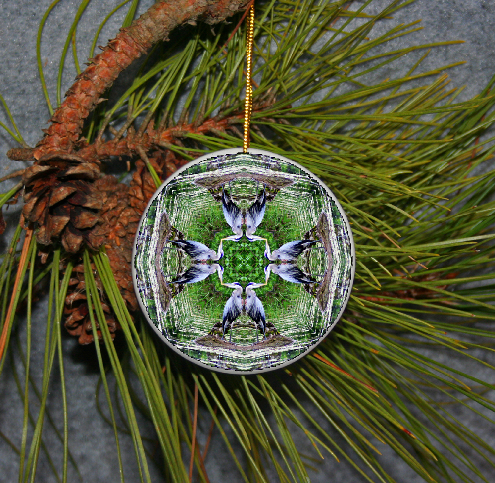 Ornament Christmas Ceramic Blue Heron Mandala All Occasion Sacred Geometry Kaleidoscope Boho Chic New Age Bohemian Modern Unique Bemidji Blue