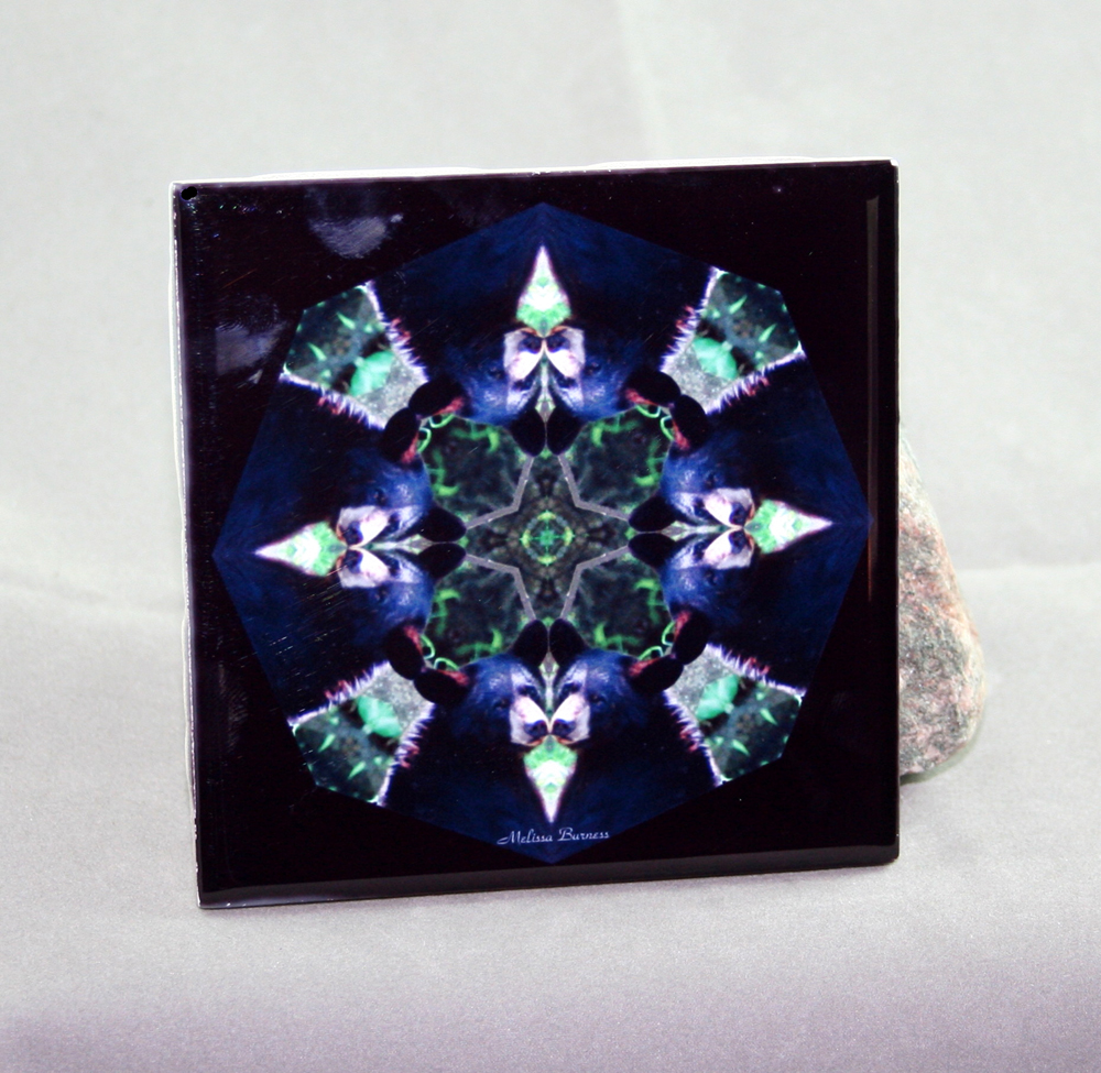 Bear Decorative Ceramic Tile Coaster Sacred Geometry Kaleidoscope Black Beauty