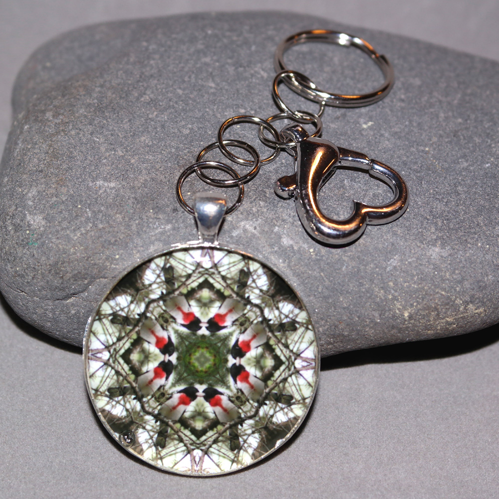 Bird Key Chain Sacred Geometry Mandala Bleeding Heart