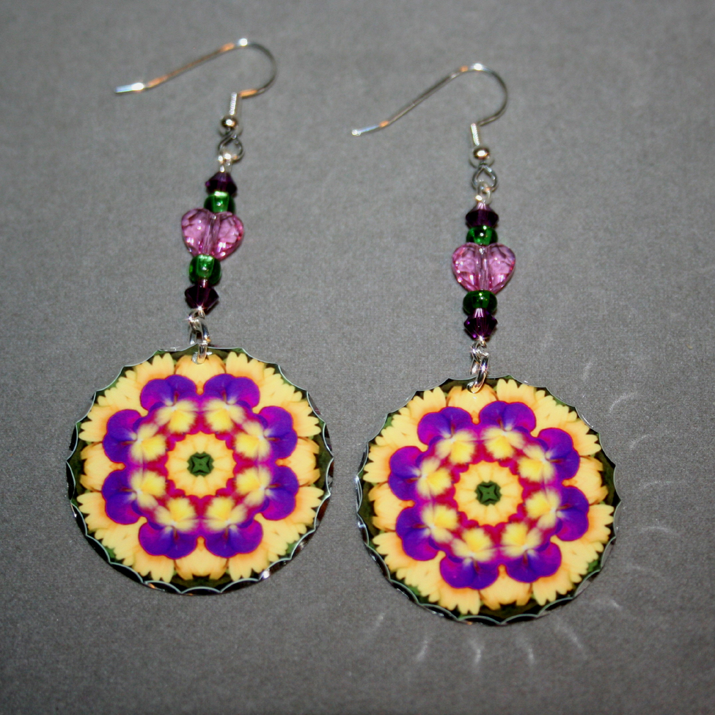 Pansy Earrings Dangle Boho Chic Mandala New Age Sacred Geometry Hippie Kaleidoscope Blissful Beliefs