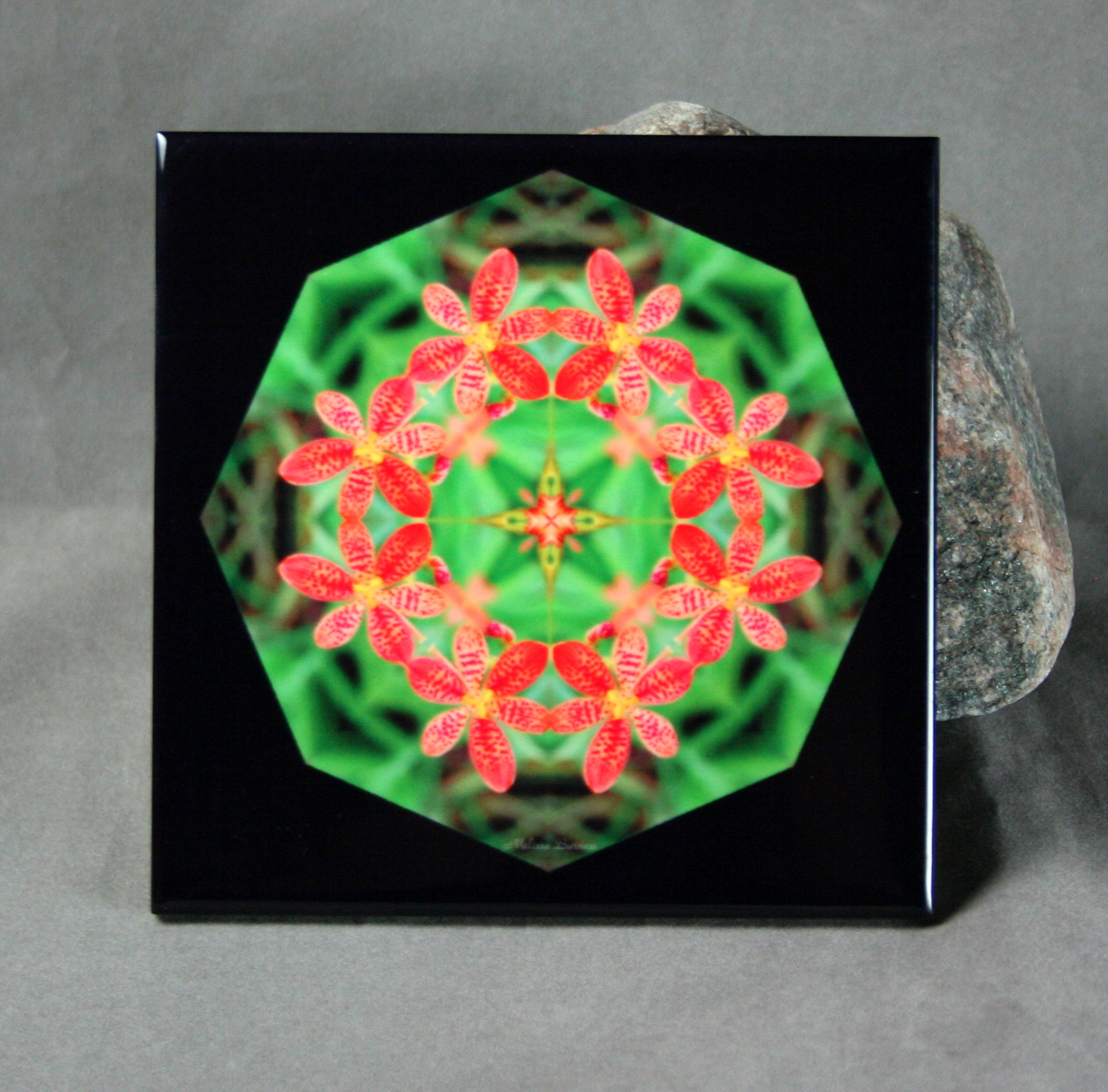 Lily Decorative Ceramic Tile Mandala Sacred Geometry Kaleidoscope Blooming Inspiration