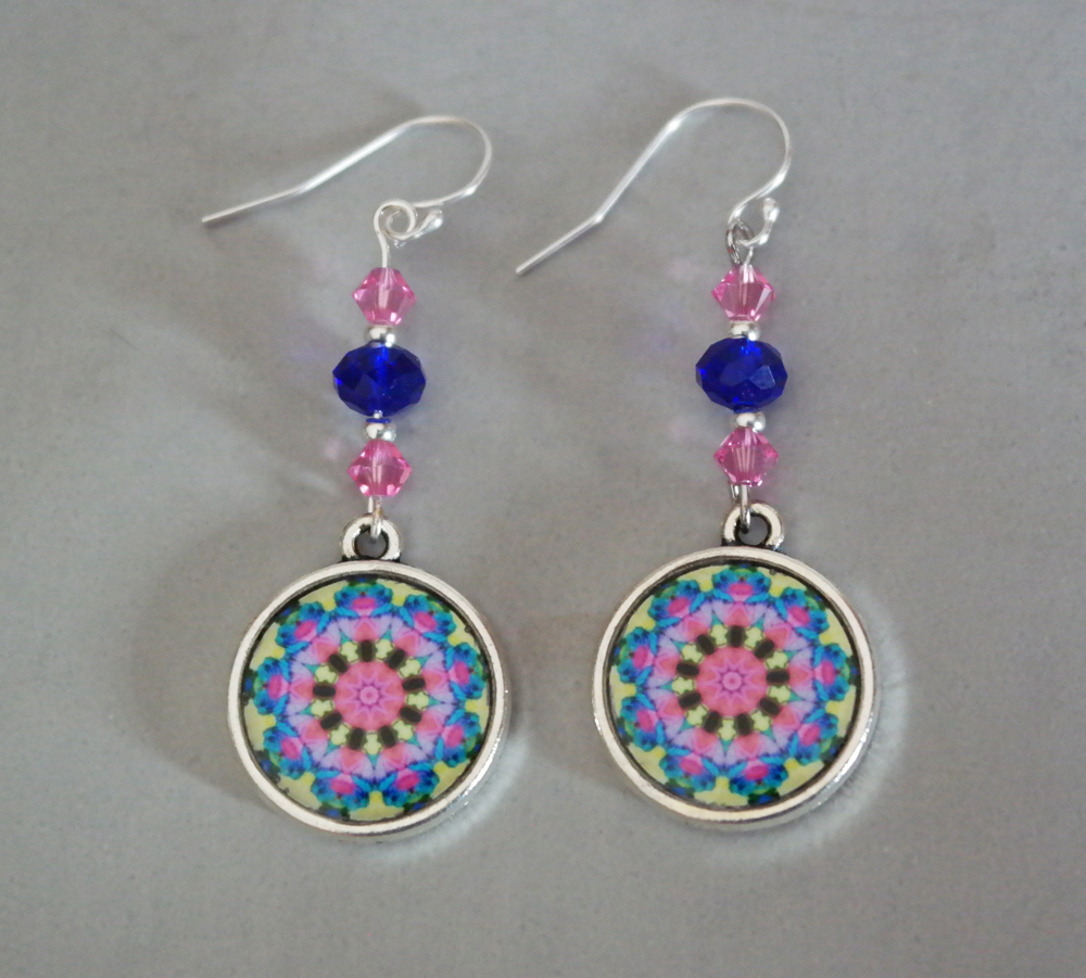 Rose Mandala Earrings Petite Boho Chic Sacred Geometry Zen Hippie Kaleidoscope Gypsy New Age Unique Gift For Her Blooming Rose