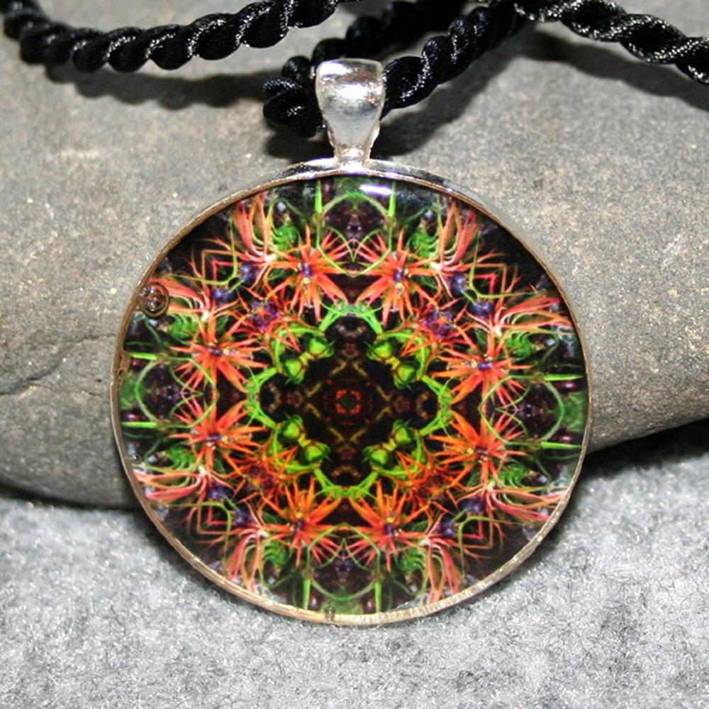 Air Plant Pendant Sacred Geometry Mandala Kaleidoscope Necklace Medallion Blushing Bride