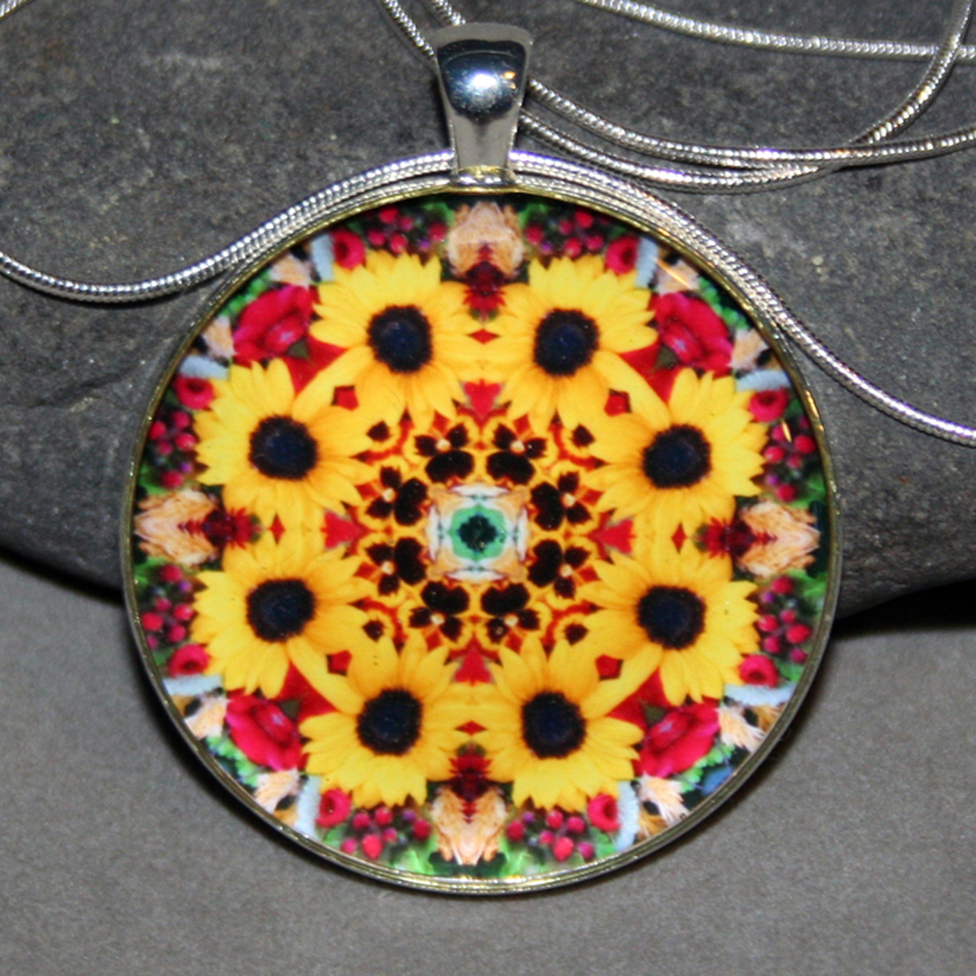 Sunflower Pendant Necklace Boho Chic Mandala New Age Sacred Geometry Kaleidoscope Bohemian Bliss