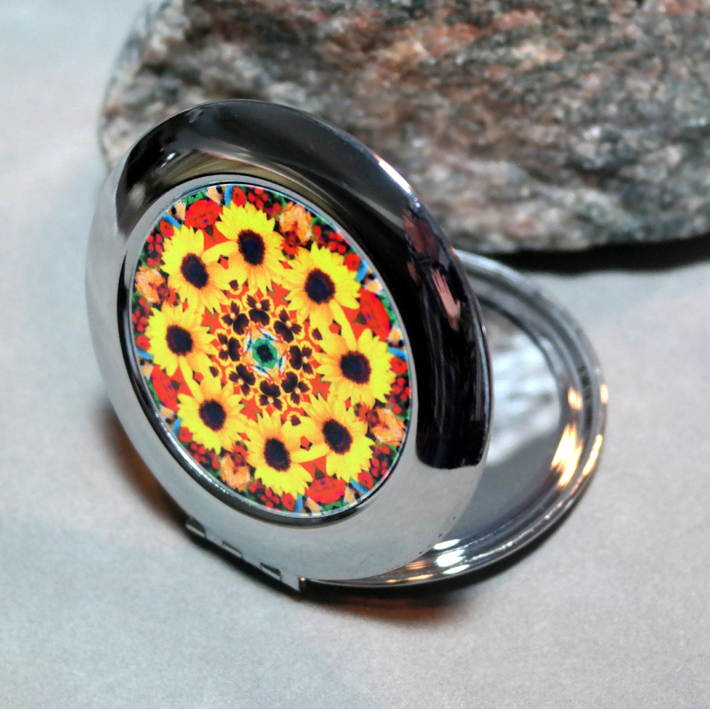Sunflower Compact Mirror Pocket Mirror Boho Chic Mandala New Age Sacred Geometry Hippie Kaleidoscope Bohemian Bliss