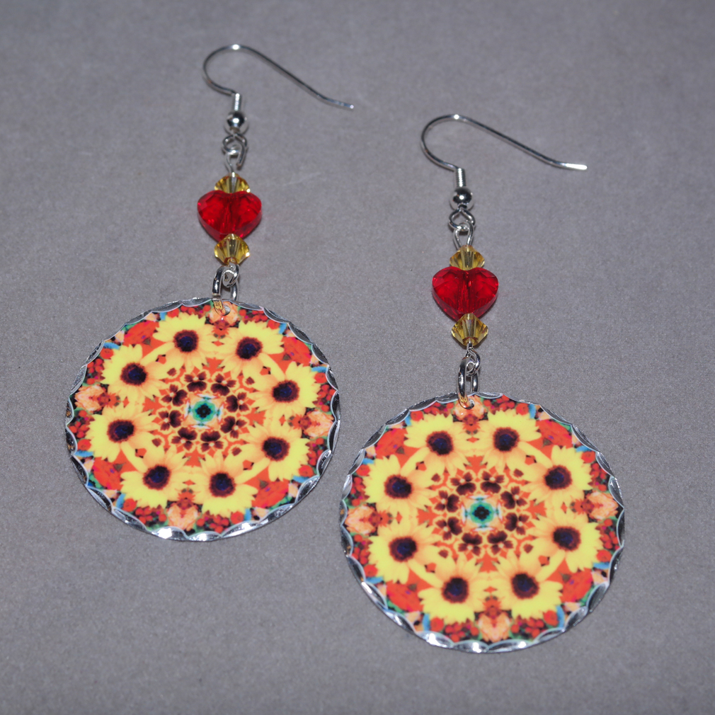 Sunflower Earrings Dangle Boho Chic Mandala New Age Sacred Geometry Hippie Kaleidoscope Bohemian Bliss