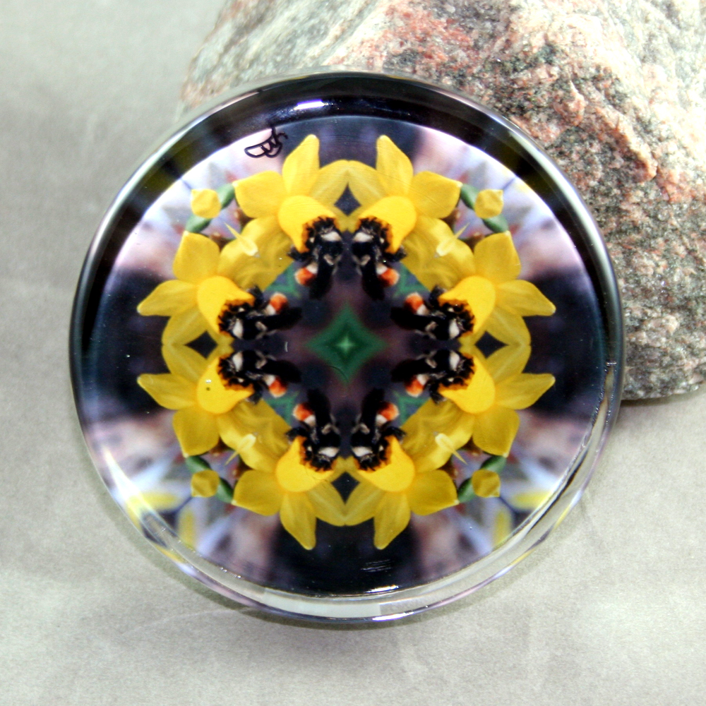 Honeybee Glass Paperweight Mandala Sacred Geometry Kaleidoscope Busy Bee