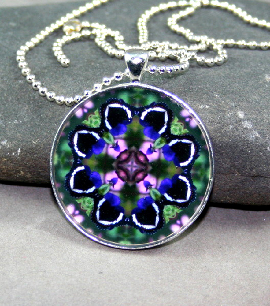 Butterfly Pendant Sacred Geometry Mandala Kaleidoscope Medallion Necklace Butterfly Bliss