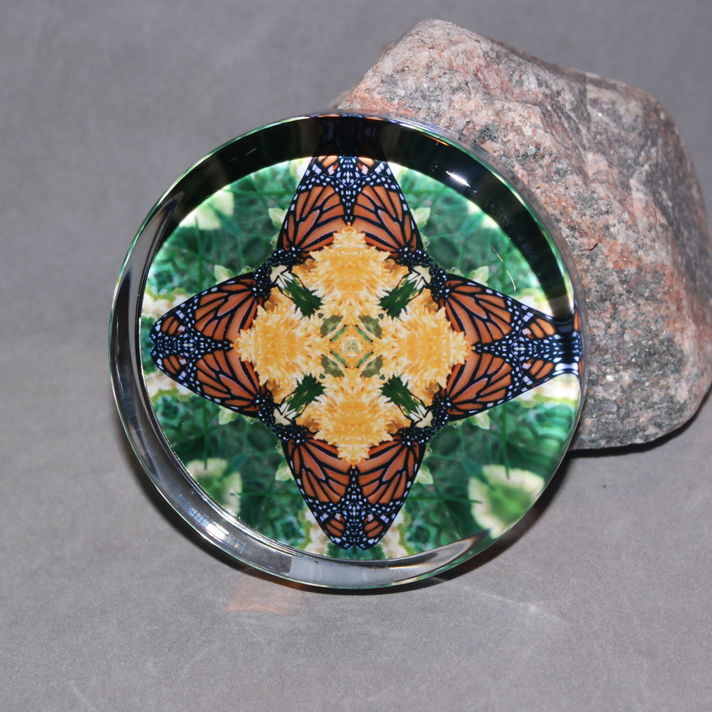Monarch Butterfly Glass Paperweight Boho Chic Mandala New Age Sacred Geometry Kaleidoscope Butterfly Kisses