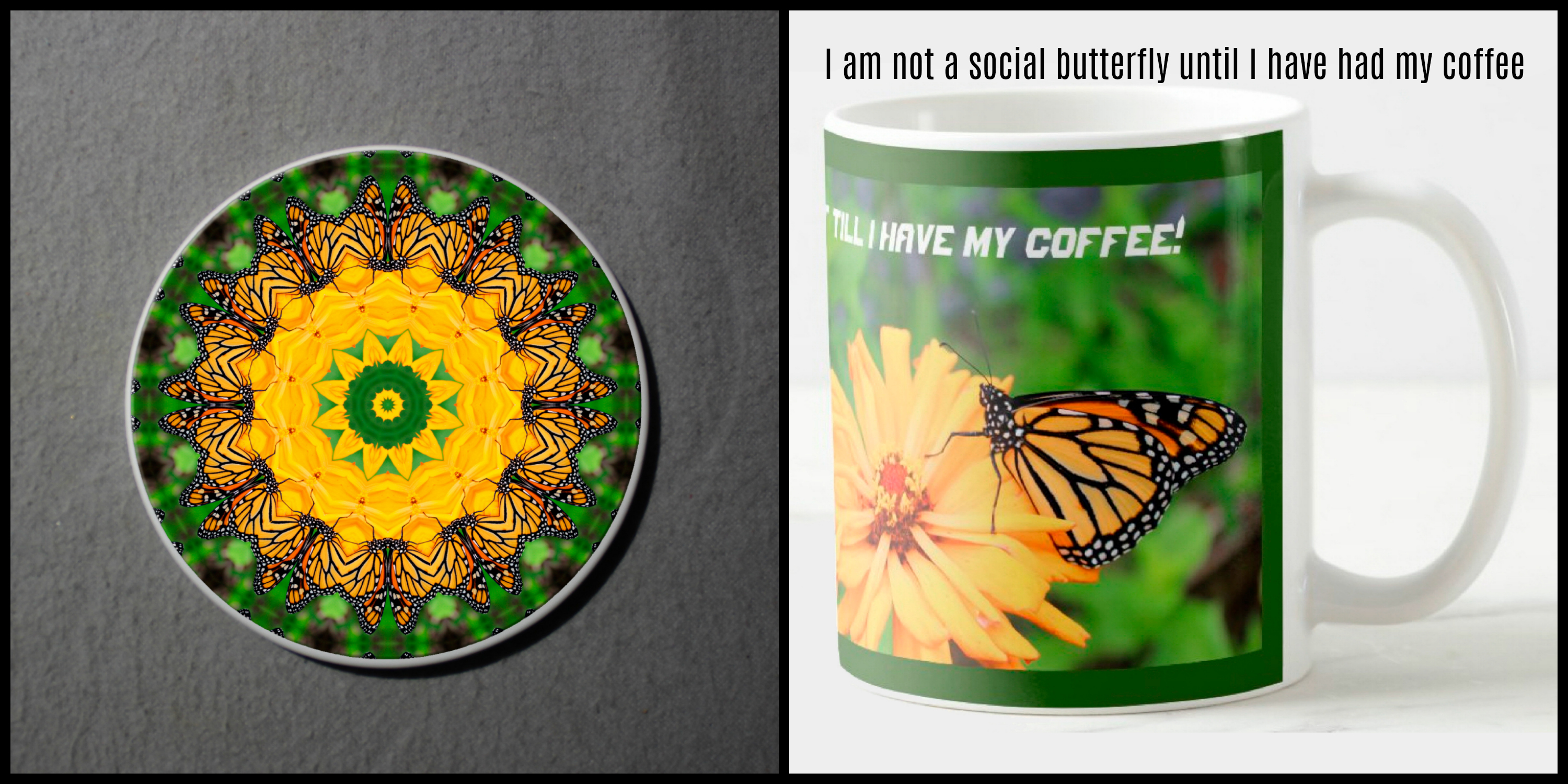 Mug Coffee Tea Hot Chocolate Unique Cute Monarch Butterfly With Coaster Gift Set Carefree Creature
