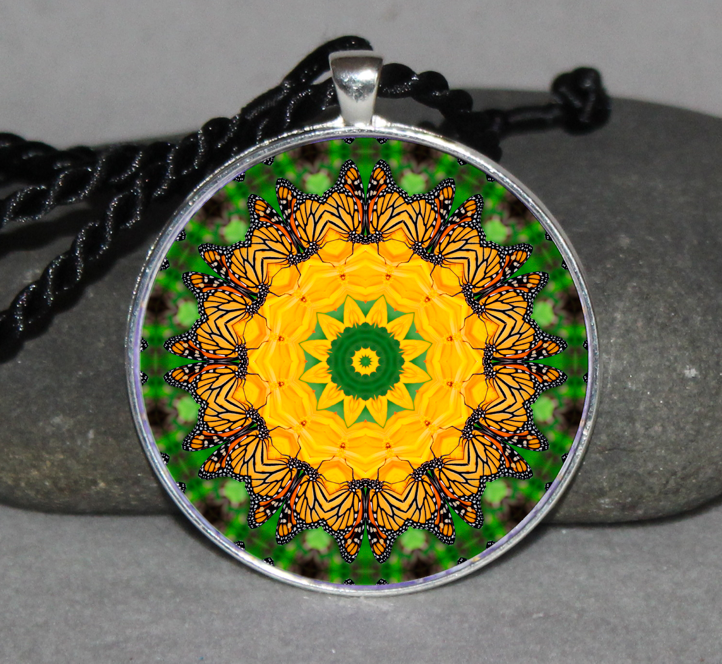 Monarch Butterfly Necklace Pendant Charm Gift Sacred Geometry Geometric Mandala Necklace d