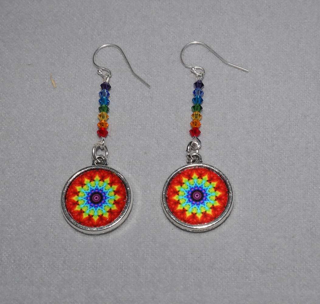 Chakra Mandala Earrings Petite Rainbow Boho Chic Sacred Geometry Zen Hippie Kaleidoscope Gypsy New Age Unique Gift For Her Chakra Energy