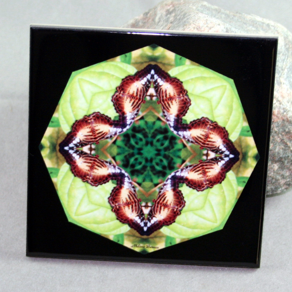 Butterfly Decorative Ceramic Tile Sacred Geometry Mandala Kaleidoscope Champagne Zest