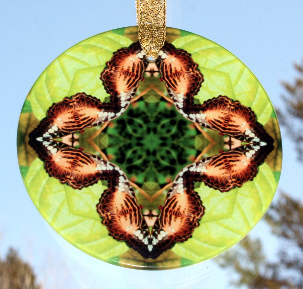 Butterfly Glass Sun catcher geometric mandala kaleidoscope Champagne Zest