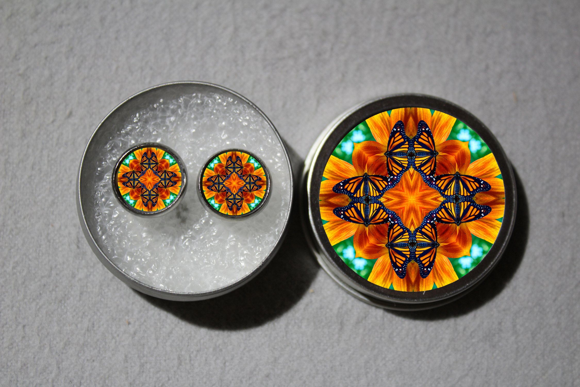 Post Earrings Monarch Butterfly Mandala Sacred Geometry Zen Bohemian Kaleidoscopic Charismatic Essence