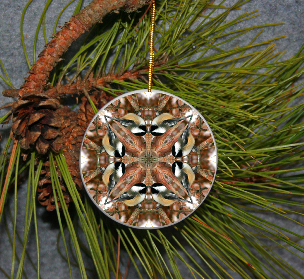 Ornament Christmas Ceramic Chickadee Bird Mandala All Occasion Sacred Geometry Kaleidoscope Boho Chic New Age Bohemian Modern Unique Cheerful Chirper