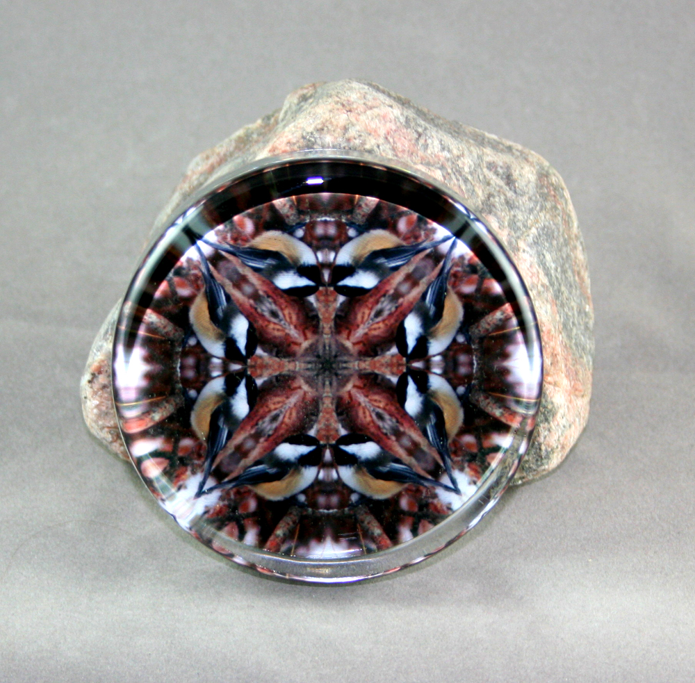 Chickadee Glass Paperweight Kaleidoscope Mandala Cheerful Chirper